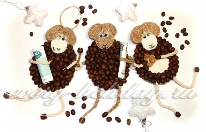 Магниты из кофейных зерен своими руками овечки