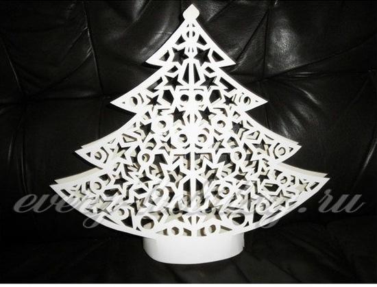 Шаблон елки для вырезания из бумаги, распечатать трафареты 44
