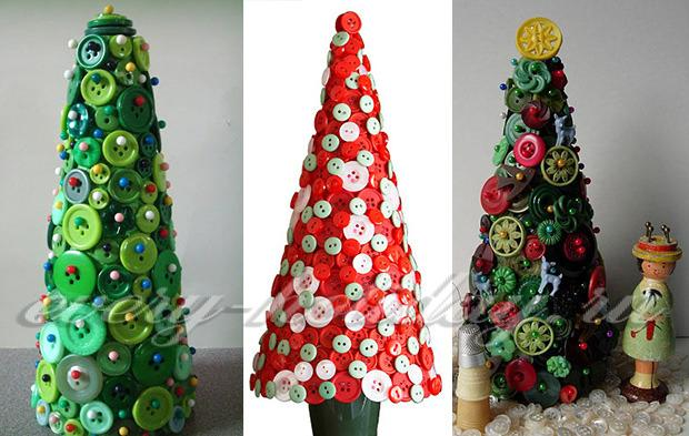 Поделки елки из пуговиц
