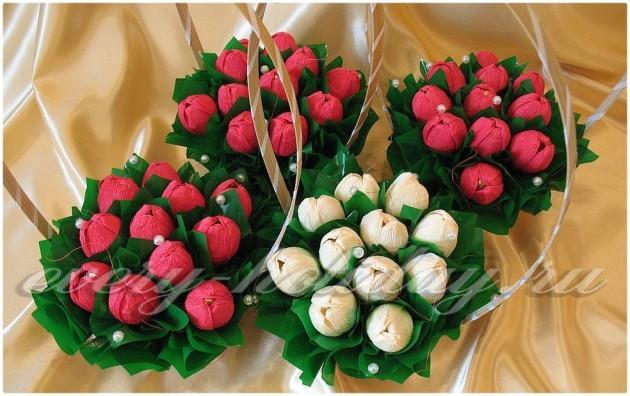 Букет цветов своими руками с конфетами
