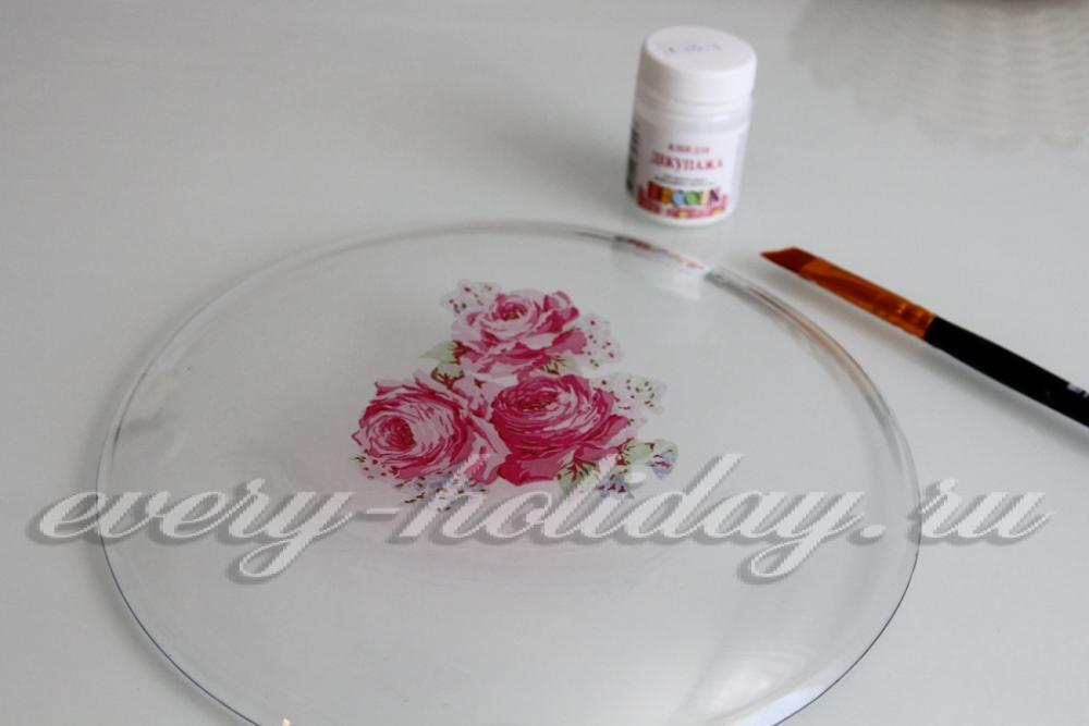 Декупаж для начинающих пошагово с тарелки