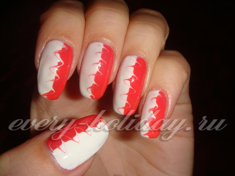 Фото рисунков на ногтях из двух цветов