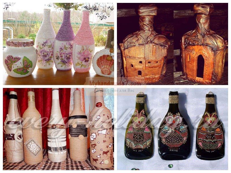 Декорирование бутылки своими руками мастер класс 46