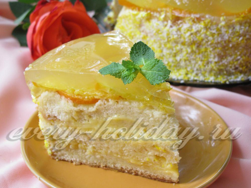 торт с фруктами и желе рецепт с фото в домашних