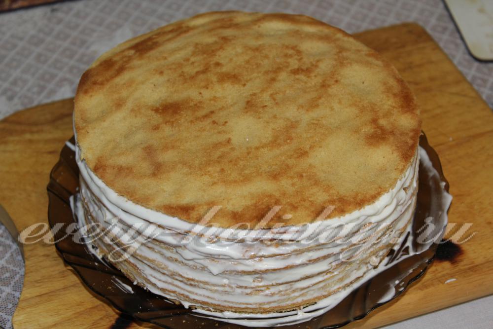 Медовик со сметанным кремом и сгущенкой пошаговый рецепт 124