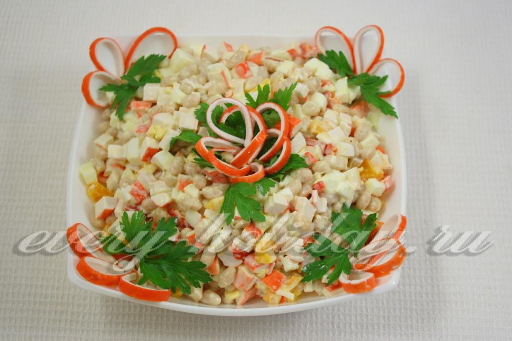 Салат крабовые палочки оформление