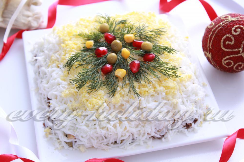 Салат на новый год с шампиньонами