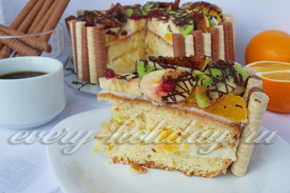 Бисквитный торт с орехами и фруктами рецепт