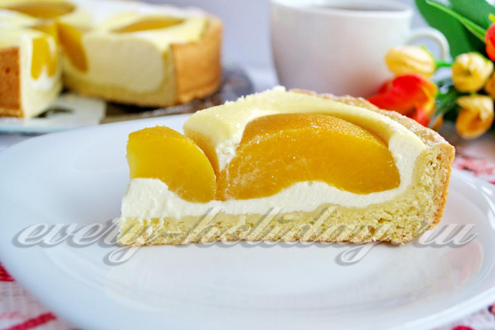 21Рецепт творожного пирога с персиками консервированными