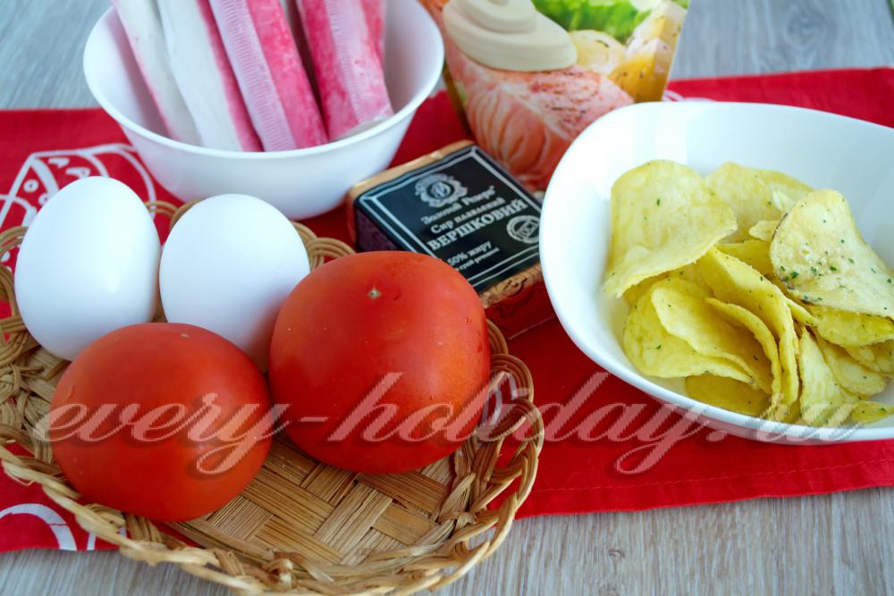 Салат крабовые палочки чипсы сыр