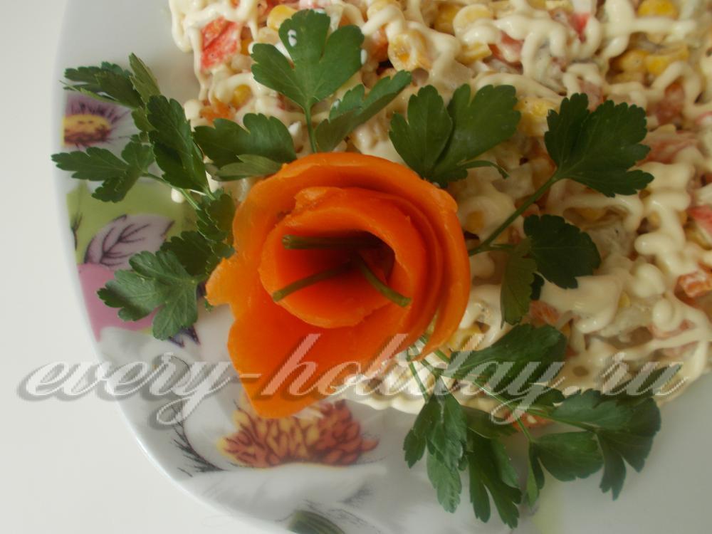 Салат из крабовых палочек с кукурузой и сыром картинки