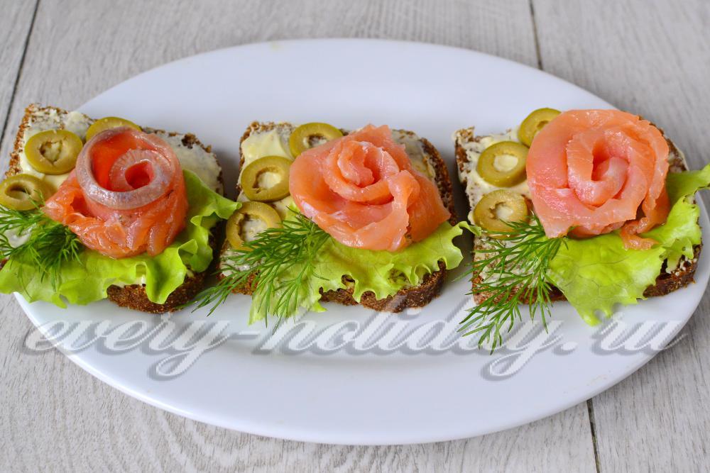 Бутерброды с семгой рецептов