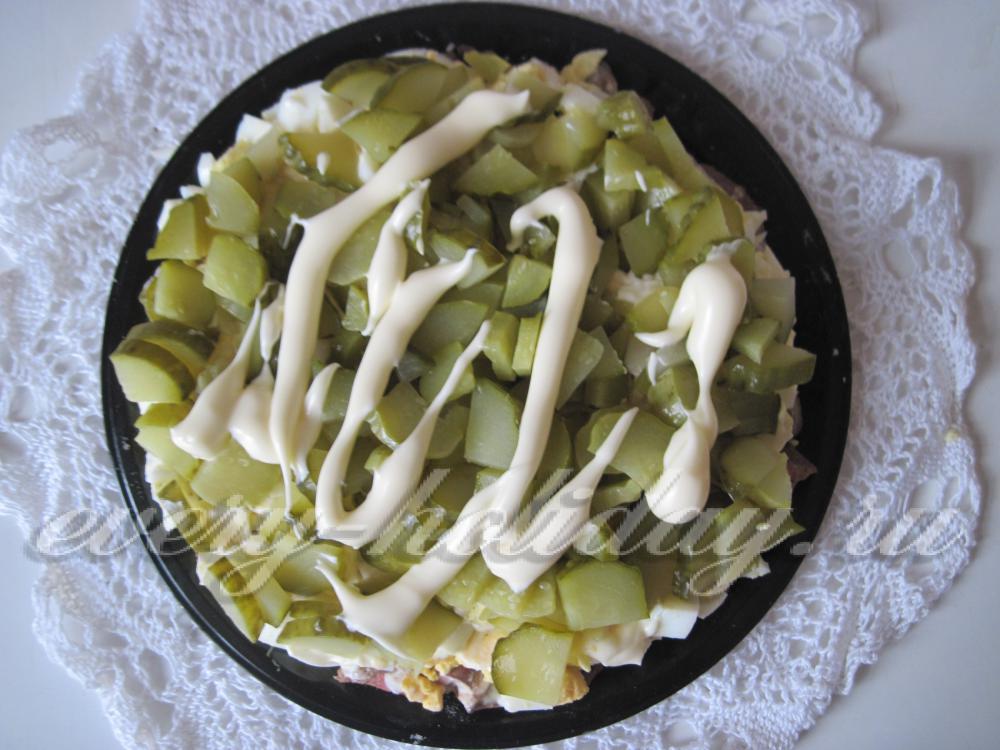 Салат слоеный с куриной печенью рецепт пошаговый 50