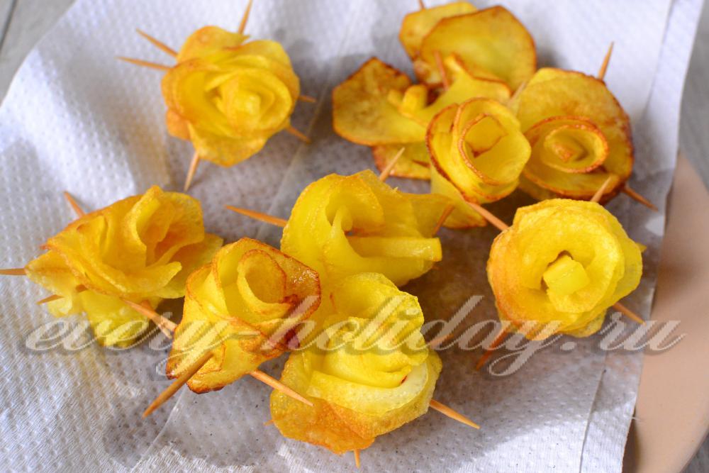 Как сделать розы из картошек 155