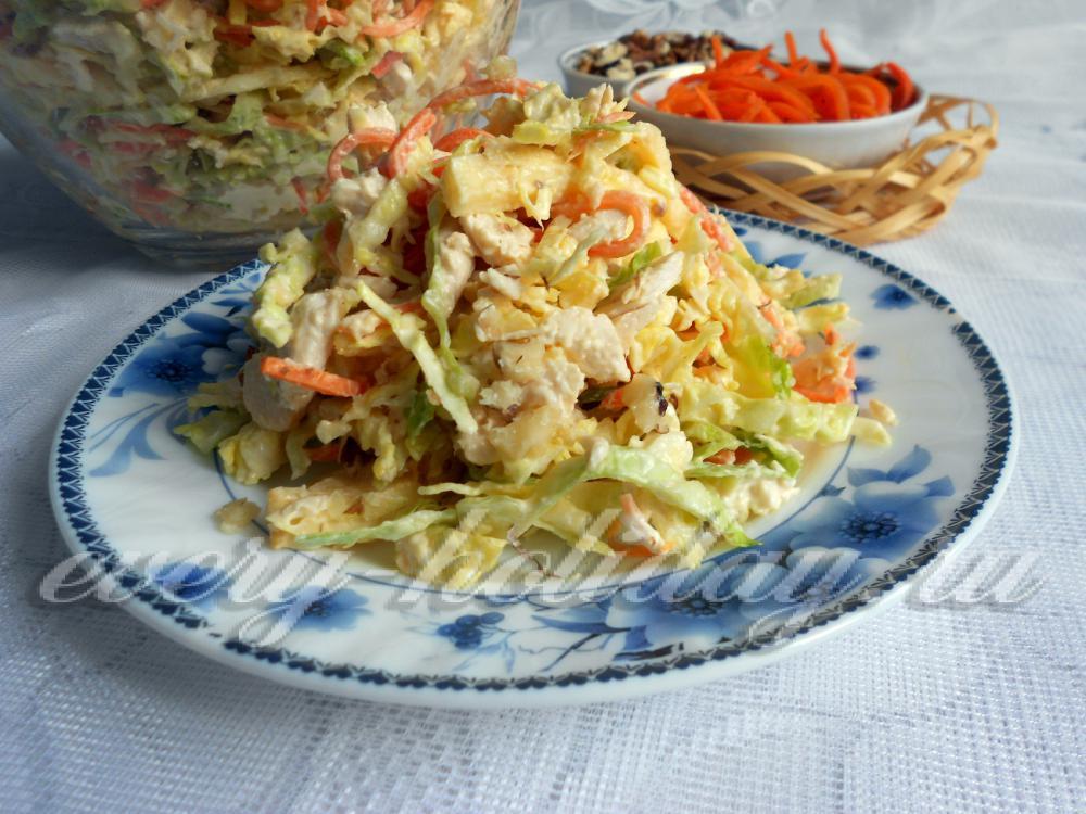 салат с савойской капусты с курицей