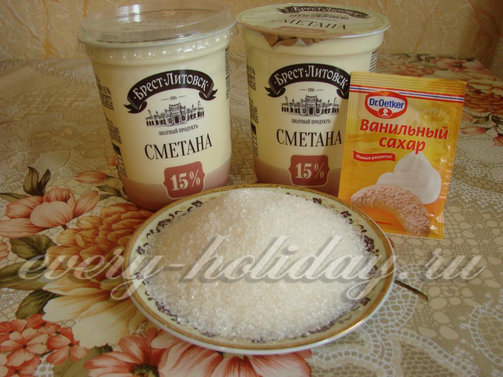 Рецепт крема из сметаны и сахара для торта с фото