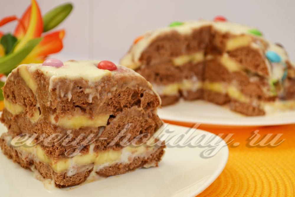 торт из пряников с бананами и сметаной без выпечки рецепт с фото