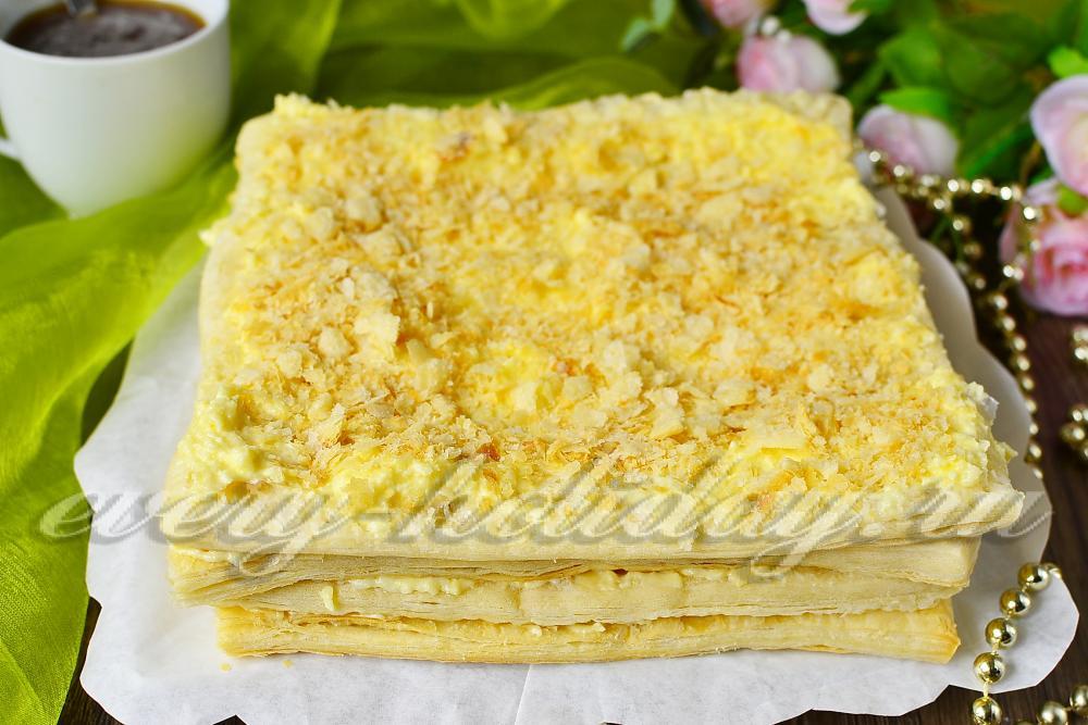 самый вкусный рецепт торта наполеон из готового слоеного теста