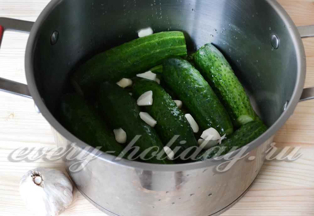 Маринованные огурцы быстрого приготовления в кастрюле с фото