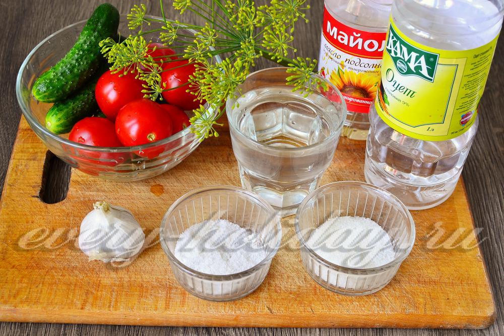 рецепт приготовления огурцов с помидорами на зиму