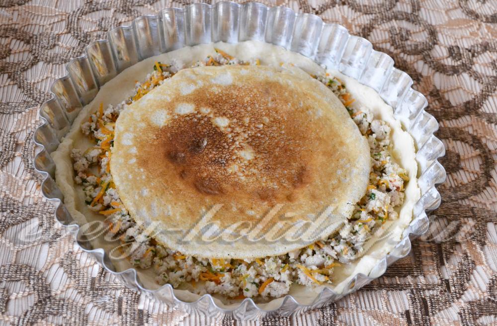 Рецепт курника с курицей и грибами из блинов