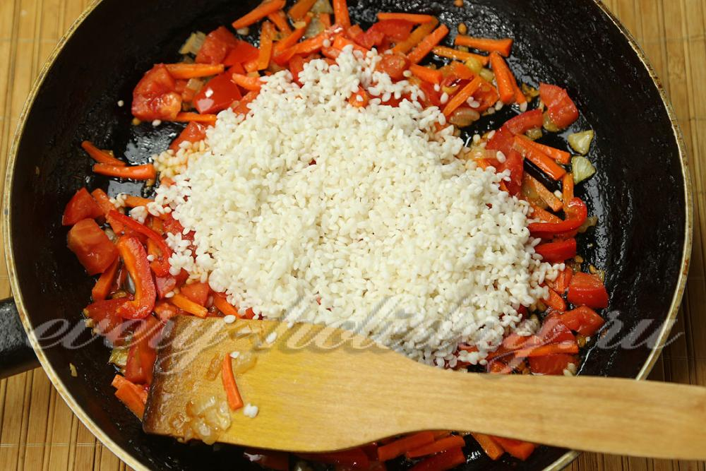 Рис с овощами рецепт с пошагово на сковороде без мяса