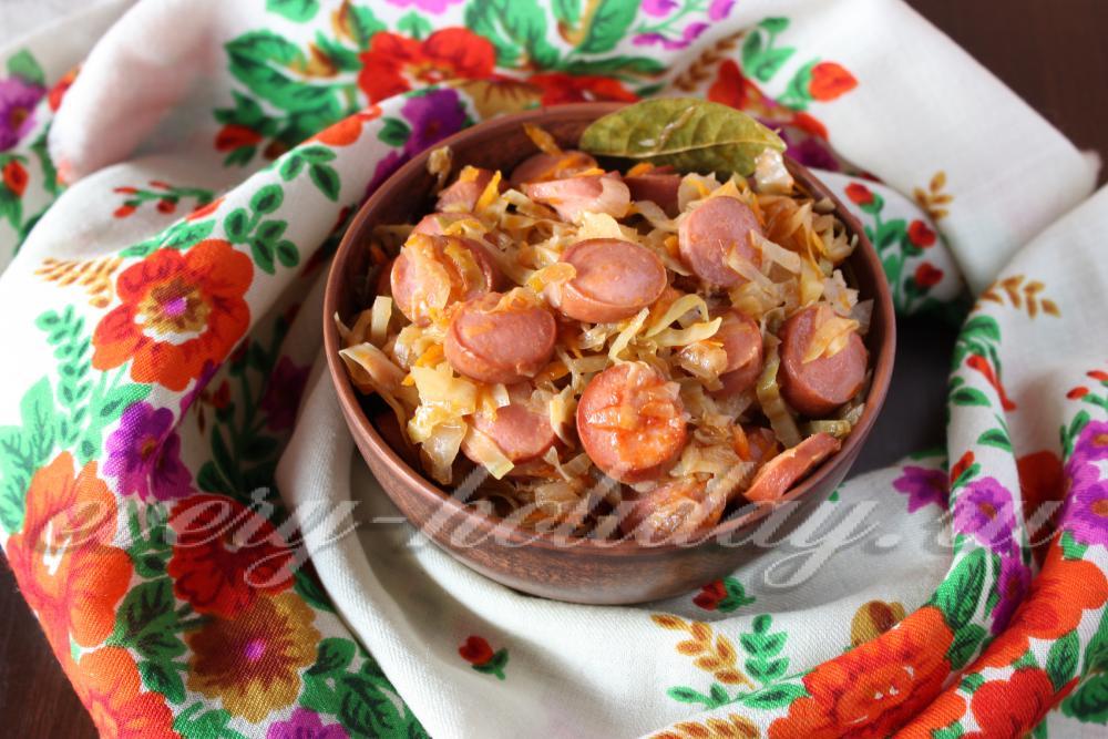Как потушить капусту с колбасой в сковороде пошаговый рецепт