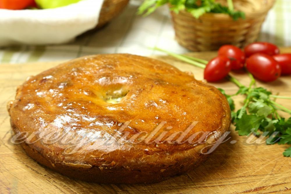 Пирог с мясом и картошкой из дрожжевого теста рецепт с фото
