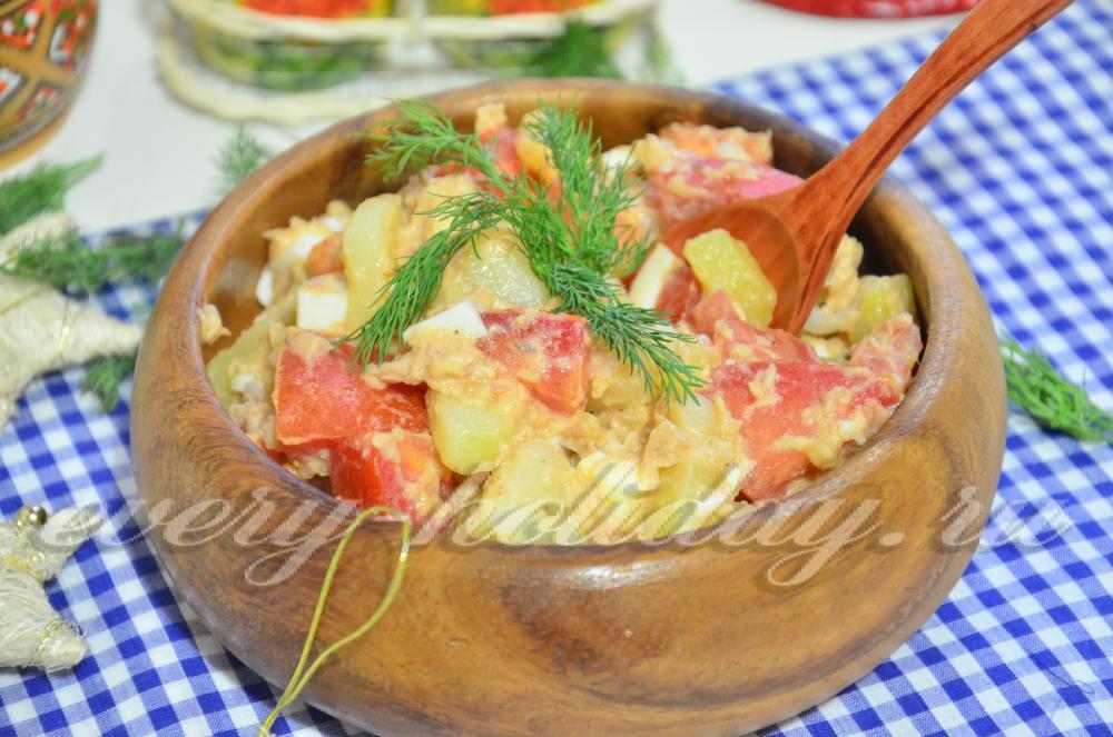 рецепты салатов из печени трески без майонеза