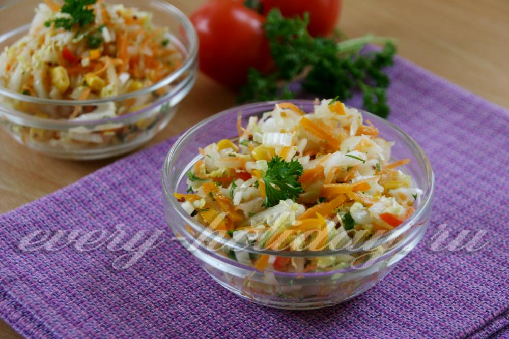 Постные салаты с капустой рецепты с