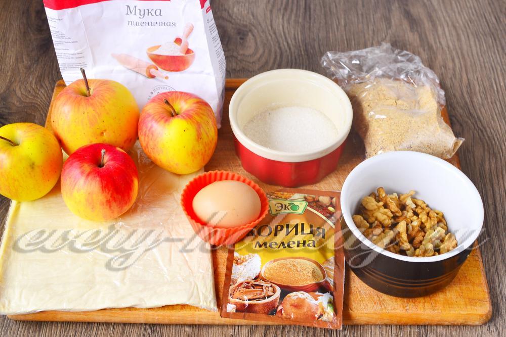 рецепт приготовления штруделя с яблоками из готового слоеного теста