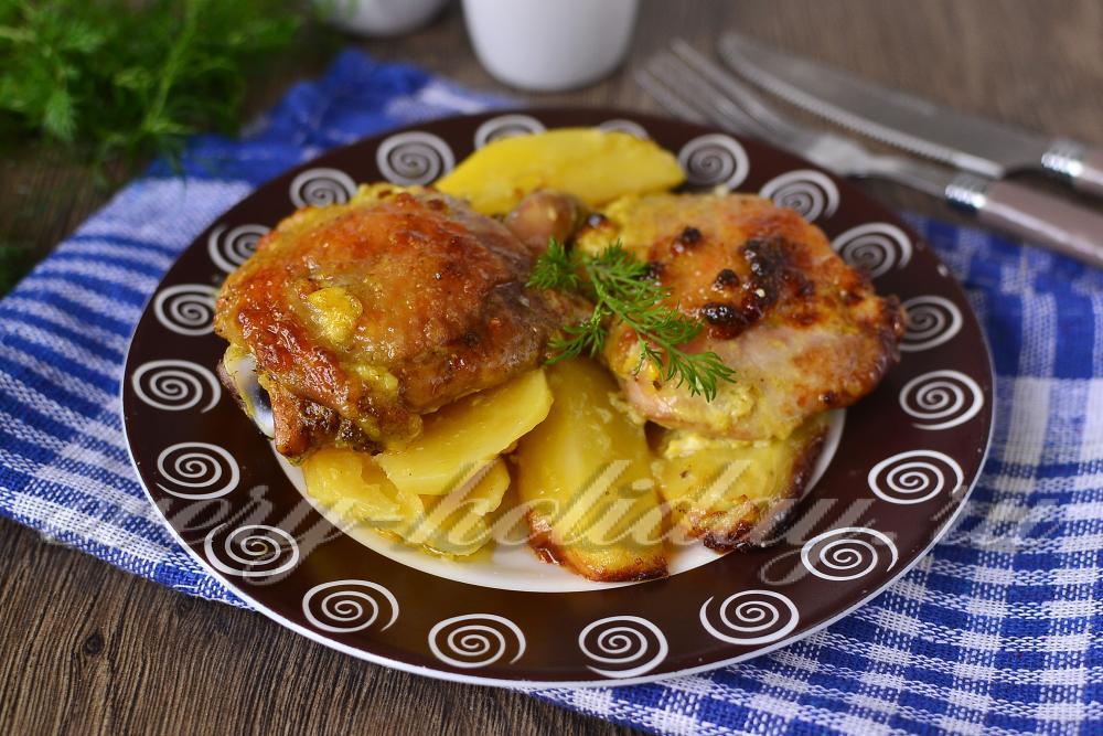 картошка в духовке с майонезом и чесноком рецепт с фото с мясом