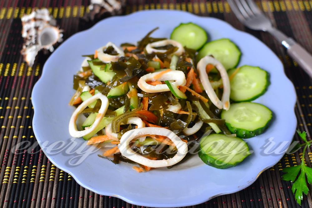 Салат морской рецепт с с кальмарами