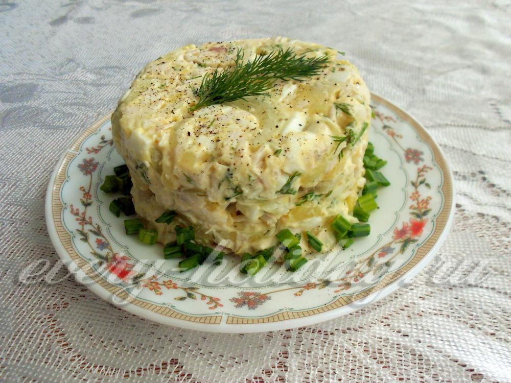 рецепт салата из курицы маринованным луком и