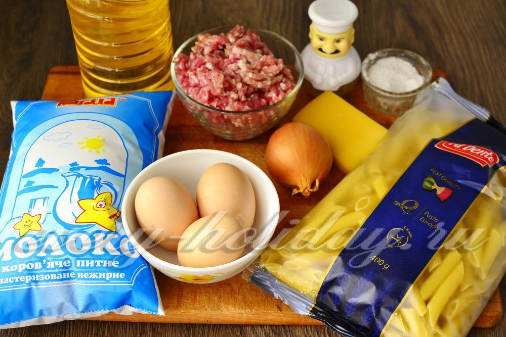 макароны с фаршем в духовке фото и рецепт