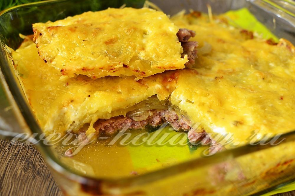 рецепт тертый картофель с фаршем в духовке фото