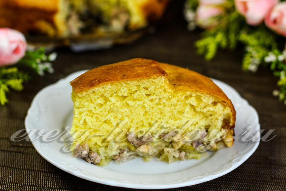 Заливной пирог с фрикадельками рецепт на кефире