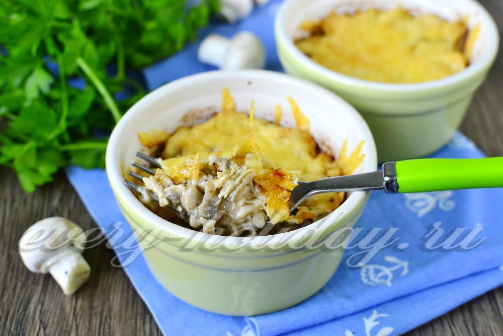 жульен с картошкой курицей и грибами и картошкой рецепт с фото в духовке