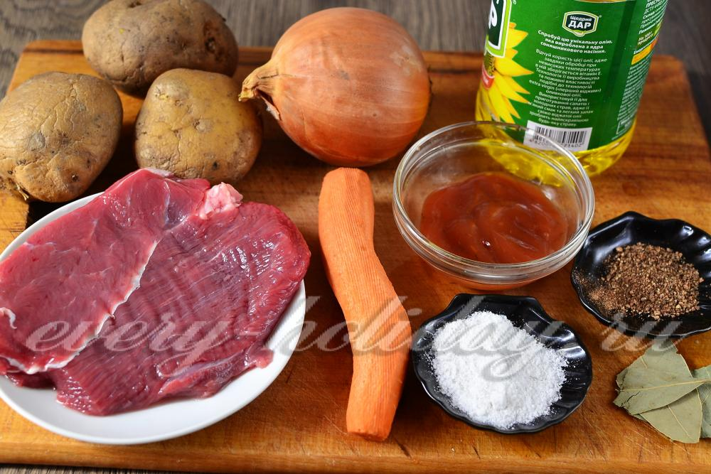 жаркое с говядиной и картошкой в духовке рецепт