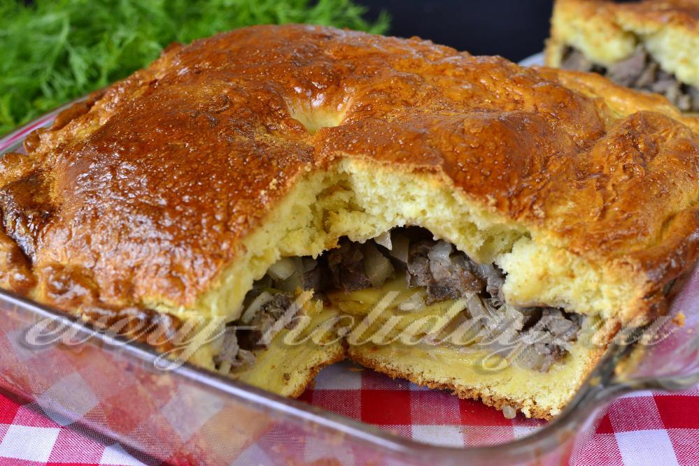 пирог с картошкой и луком в духовке рецепт с фото из дрожжевого теста
