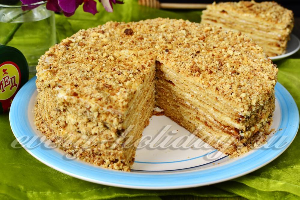 торт медовик бисквитный со сметанным кремом пошаговый рецепт с фото