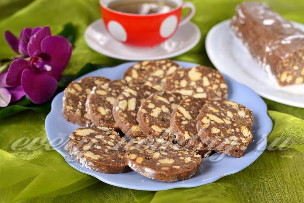 Сливочная колбаска из печенья и сгущенки