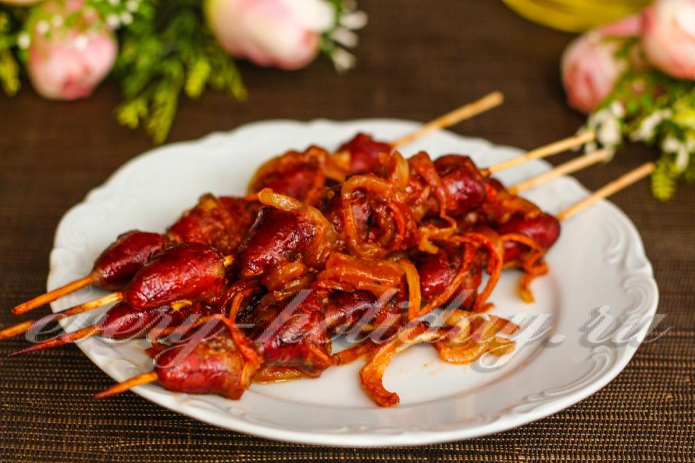 рецепт шашлычков из куриных сердечек в духовке