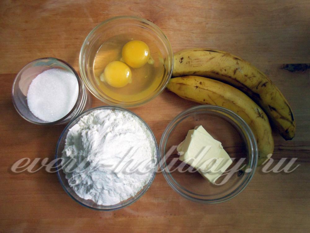 банановый пирог с молоком в духовке рецепт