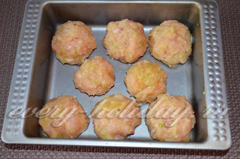 Тефтели с куриного фарша в духовке с подливкой пошаговый рецепт с фото