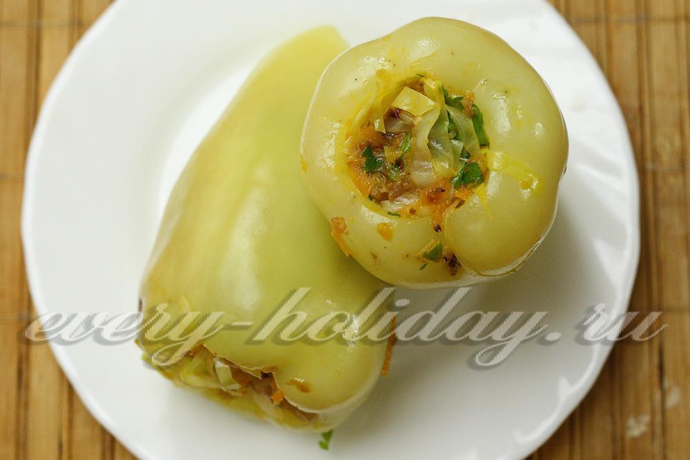Тушеный перец фаршированный капустой рецепт 8