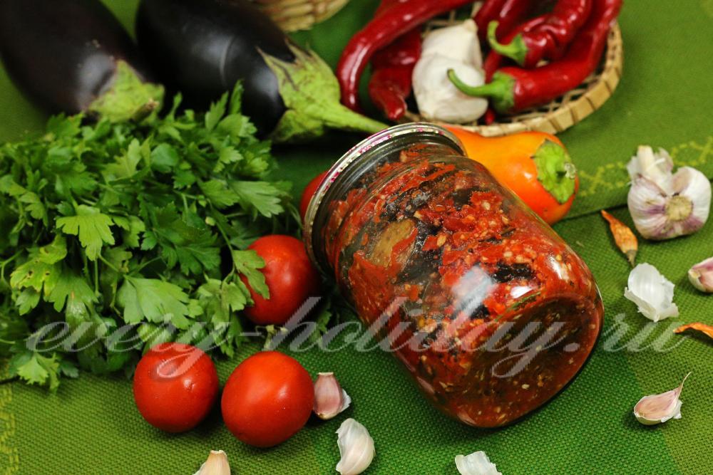 Салат из баклажанов на зиму, рецепт с фото