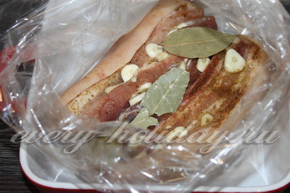 Запечь мясо в пакете для запекания пошаговый рецепт 3