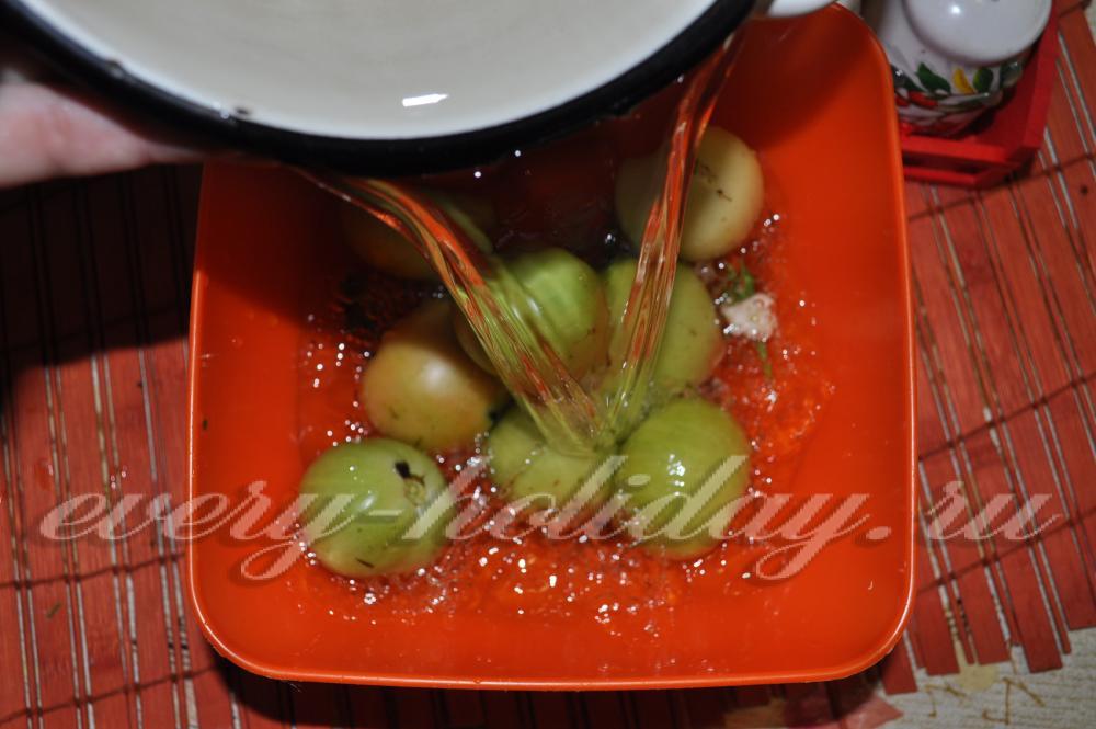 Зеленые помидоры быстрой засолки рецепт с фото