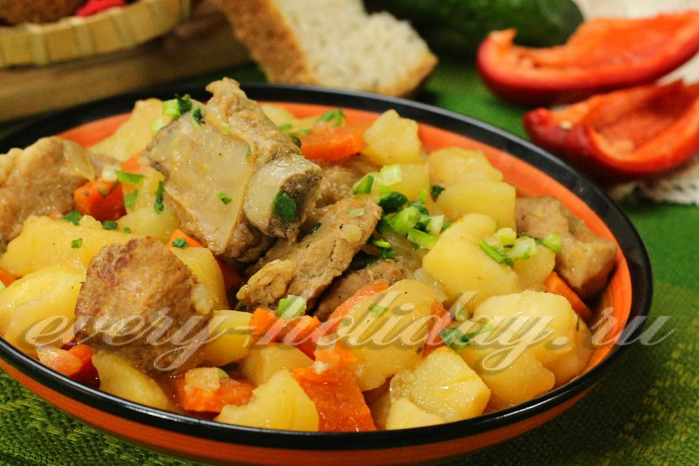 рецепт жаркое из свинины с картошкой и грибами в духовке